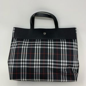 Burberry black check nylon leather tote